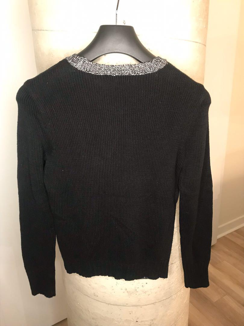 NWT Womens Black & Grey Knit Long Sleeve Sweater Size M