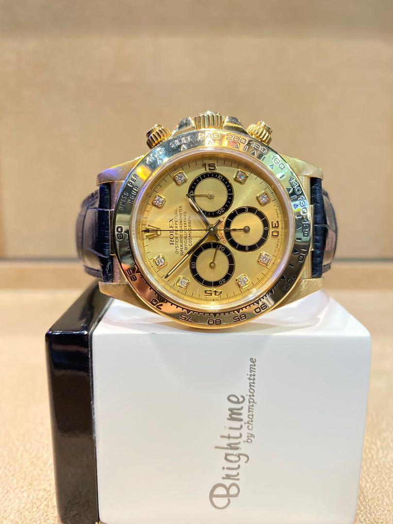 """Pre Owned Rolex Oyster Daytona 16518 """"Inverted 6 Zenith"""" Champagne Gold Dial Automatic Yellow Gold Casing Leather"""
