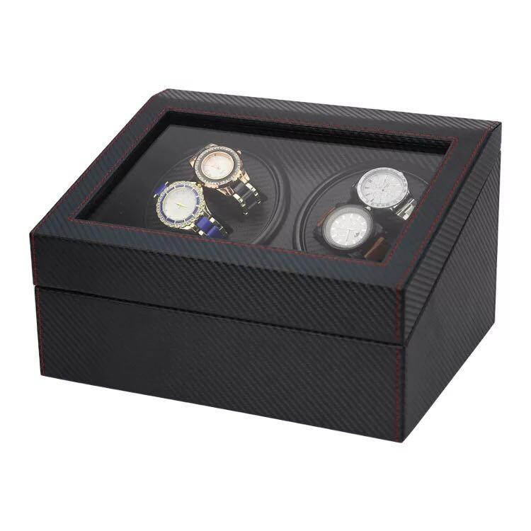 *PROMO* BNIB Automatic classic watch Black Watch Winder Wood Box (Carbon Fibre) for 4 watches winding with 6 watches slot