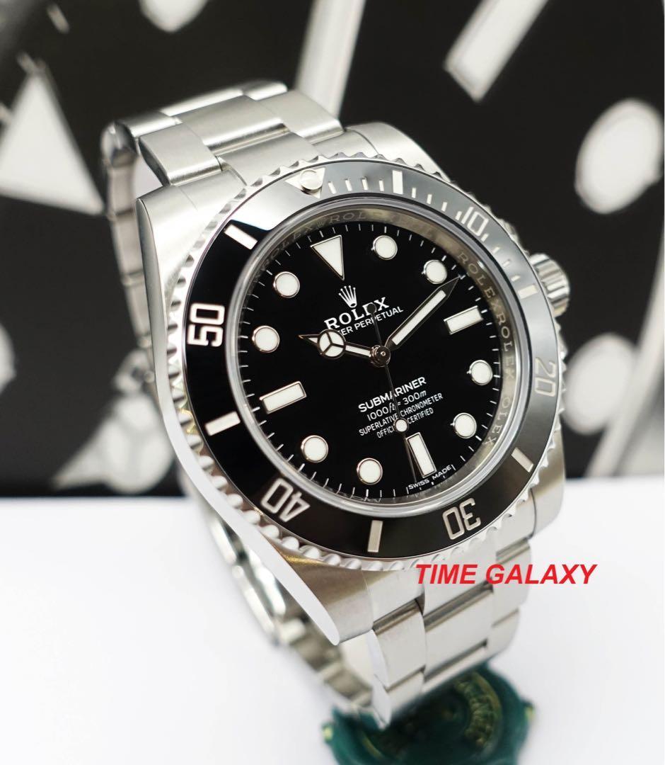 ROLEX Submariner 114060 Black 40mm Ceramic bezel (No Date) Automatic stainless steel watch.