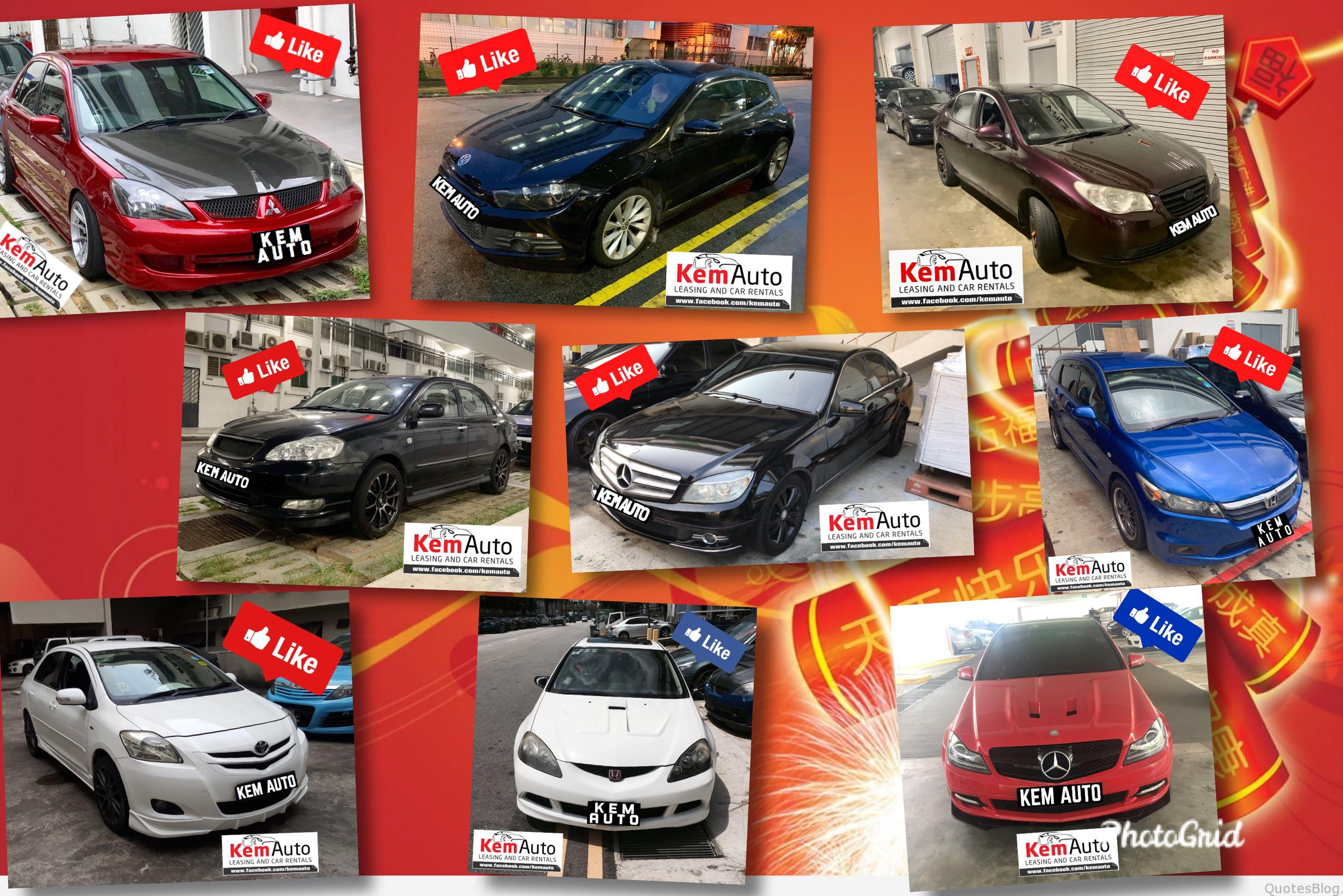 CNY sporty modded cars & family sedan MPV for CHinese New Year 2020 rental package (Honda civic integra Stream Mitsubishi Lancer cs3 Ex Toyota Estima previa Kia Forte Avante)