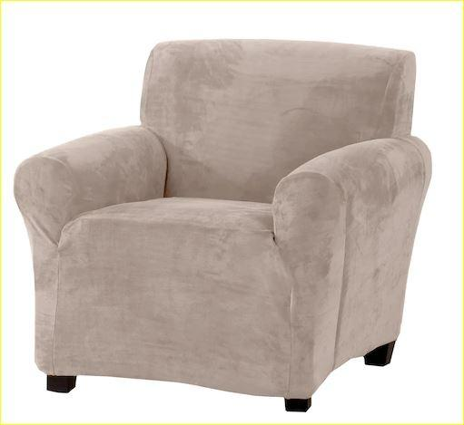 Velvet Plush Form Fit Chair Slipcover Protector (Silver Cloud)