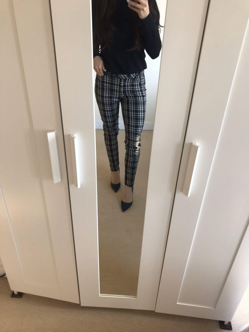 Women's Black and White Plaid Straight Leg Dress Pant Size4