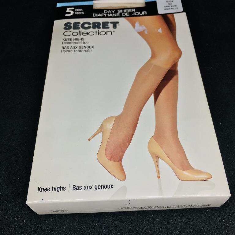 5 Pairs Nude Knee Highs Reinforced Toe Comfort Band Stocking (Size OS