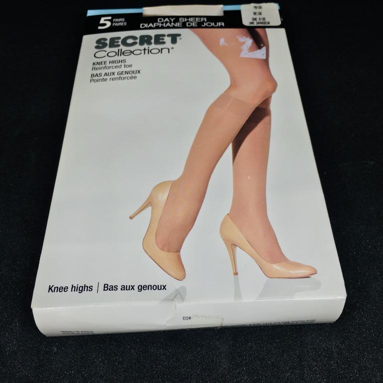 5 Pairs Women's Beige Knee Highs Reinforced Toe Comfort Band Stockings (Size OS)