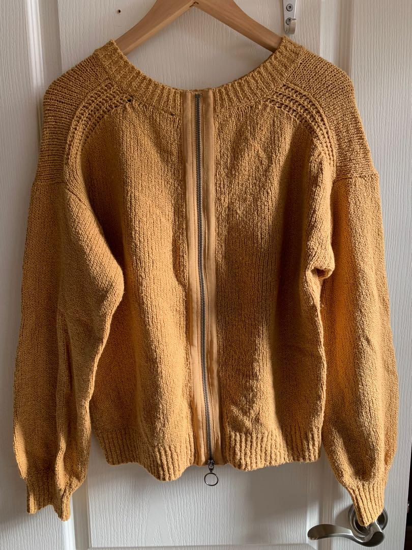 Abercrombie and Fitch Yellow Sweater with Zipper Detail