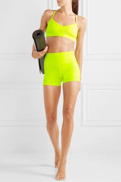 Alo Yoga Airbrush Shorts and Sunny Bra in Highlighter XS (AU 6-8)