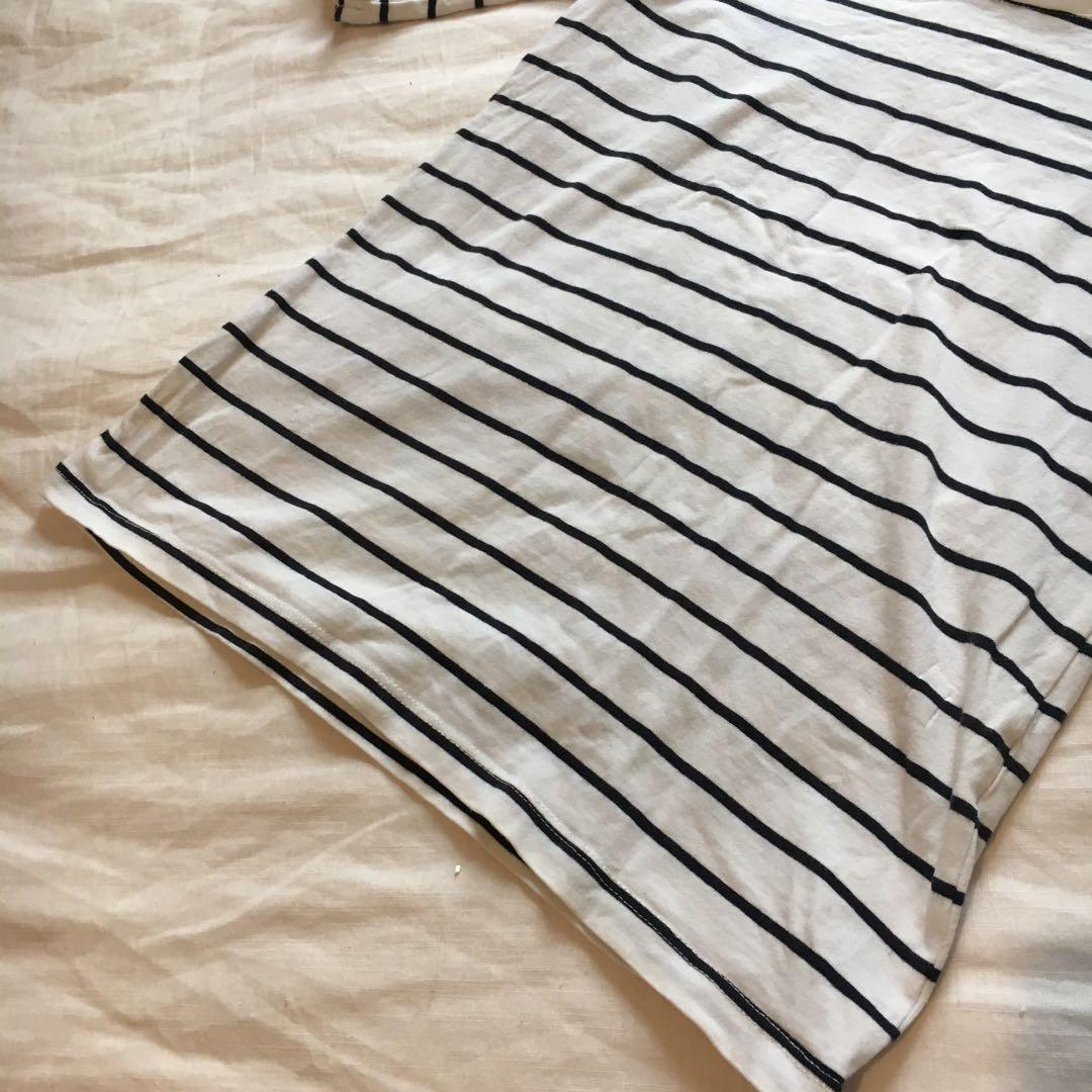 Black & White Striped Scoop Neck Half-Sleeved Top | Perfect Basic Layering Tee