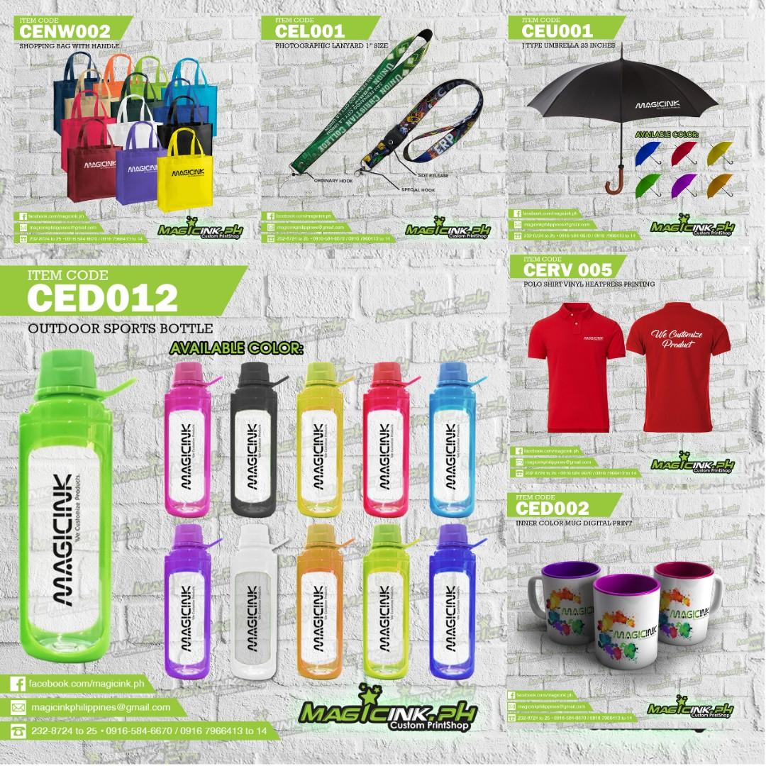 CORPORATE GIVEAWAYS lanyards id lace MUGS eco bags T-shirt Printing foldable fan UMBRELLA keychains bag tags COMPANY PVC ID tumblers SPORTS BOTTLES caps drawstring bag katsa bag canvass bag Notebooks Planners USB Souvenirs