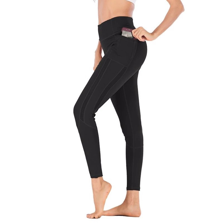 Details about  Size M /12 NWT NieSha Black Leggings with mesh strips and 2 side pockets