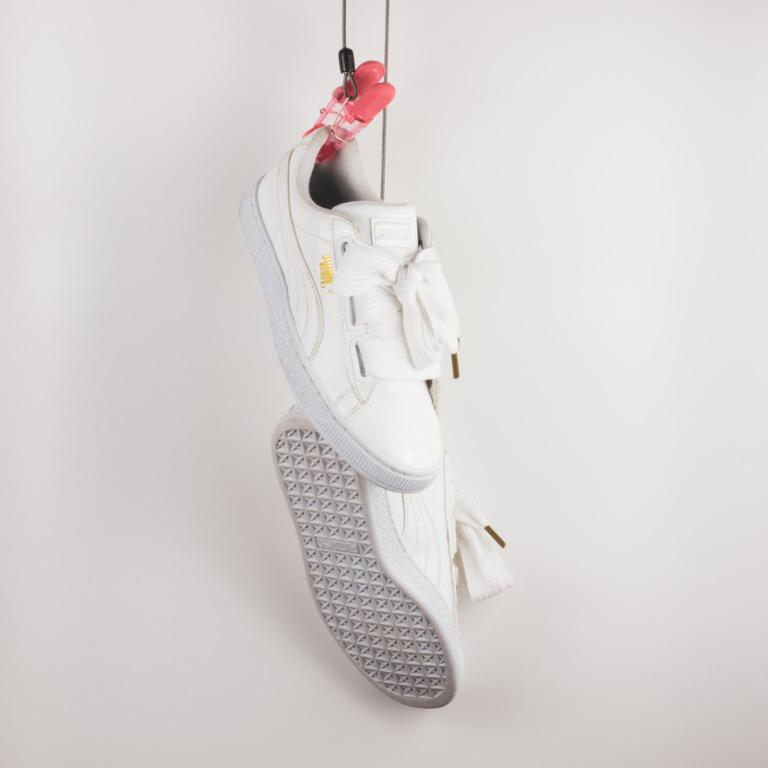 Puma Patent basket heart sneaker in white Size US Wns 7