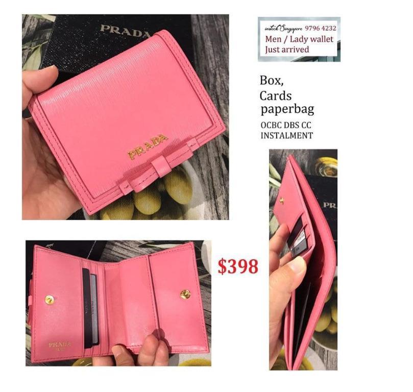 READY STOCK - AUTHENTIC - NEW New Prada 1MV204 pink geranio Vitello Leather Small Bowtie Bifold Wallet