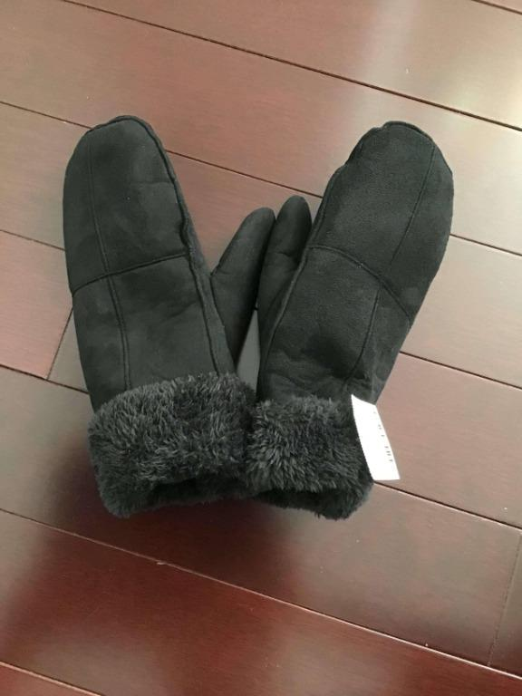 Urban Outfitters Black faux leather/faux fur mittens