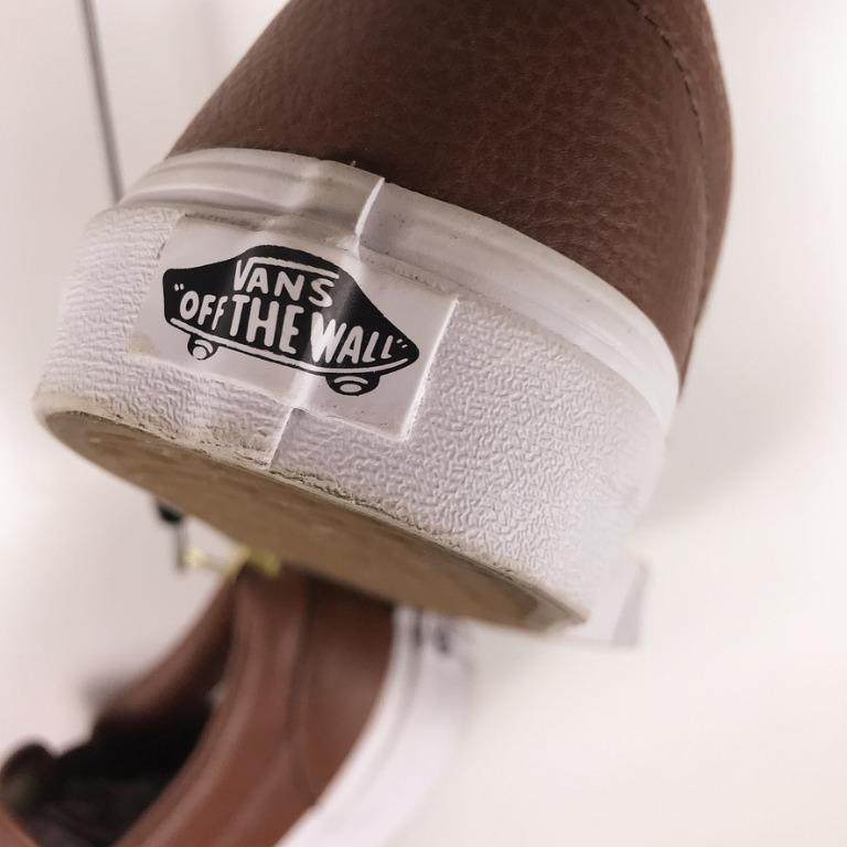 Vans Brown Leather Footwear Classic Slip On Trainer. Size US8