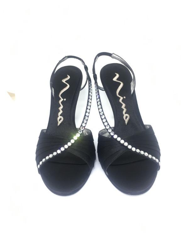 Women's Open Toe Formal Ankle Strap Black Sandal Shoes (Size 5.5)