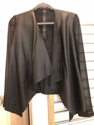Zara black leather top with see through sleeves