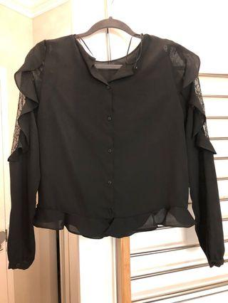 Zara black blouse with frills and lace sleeve