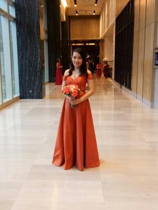 Burnt Orange Off Shoulder Long Gown (Rent only)
