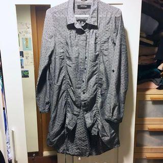 《Tough》香港Bauhaus長版深灰綉黑點襯衫,下擺抽繩設計 #女裝半價拉