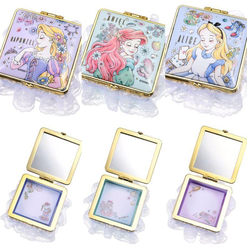[包平郵] 一件 日本迪士尼 公主 鏡盒 飾物盒 小魚仙  愛麗絲 長髮公主 Japan Disney Little Mermaid Ariel Alice Rapunzel Mirror Jewelry Box with Memo paper