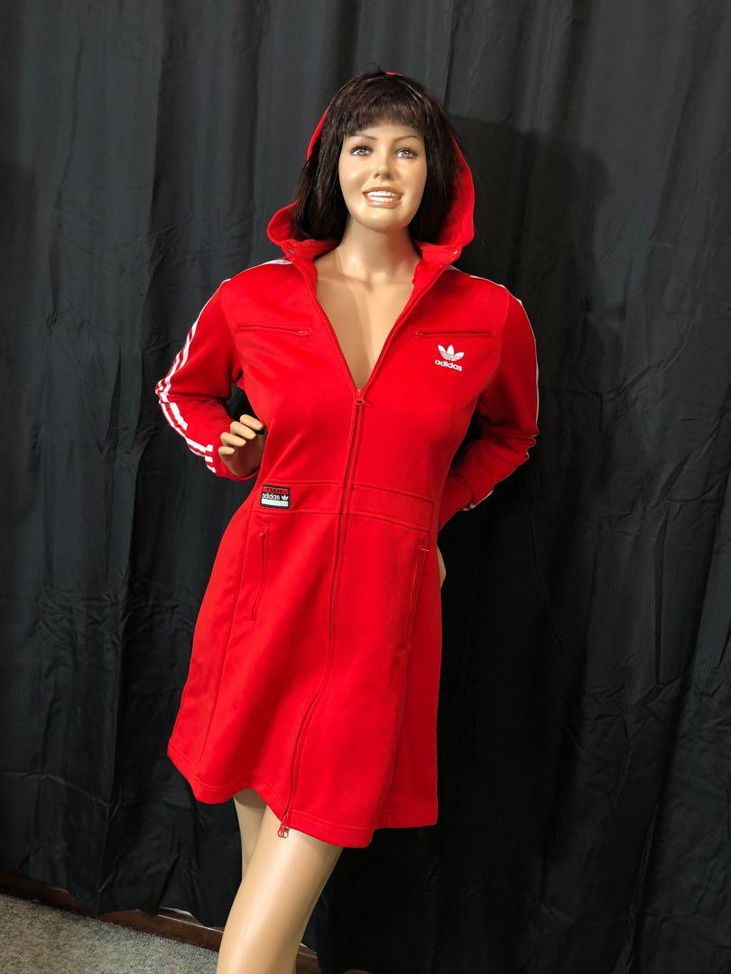 Adidas red and white zip up jacket/dress hooded size 12