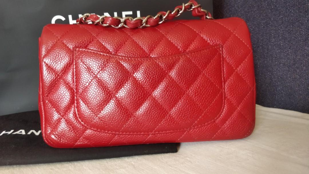 Authenticated Chanel red caviar with silver hardware mini flap