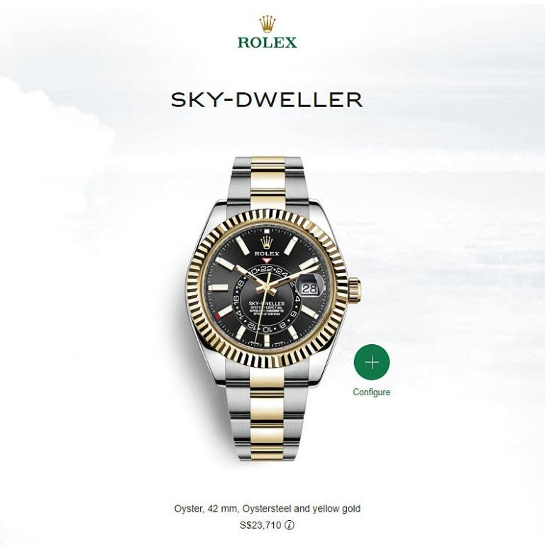 CHEAP! LIKE NEW ROLEX SKY-DWELLER BLACK ROLESOR STEEL 18K YELLOW GOLD 42MM 326933 LOCAL WARRANTY RECEIPT RETAILS S$23710