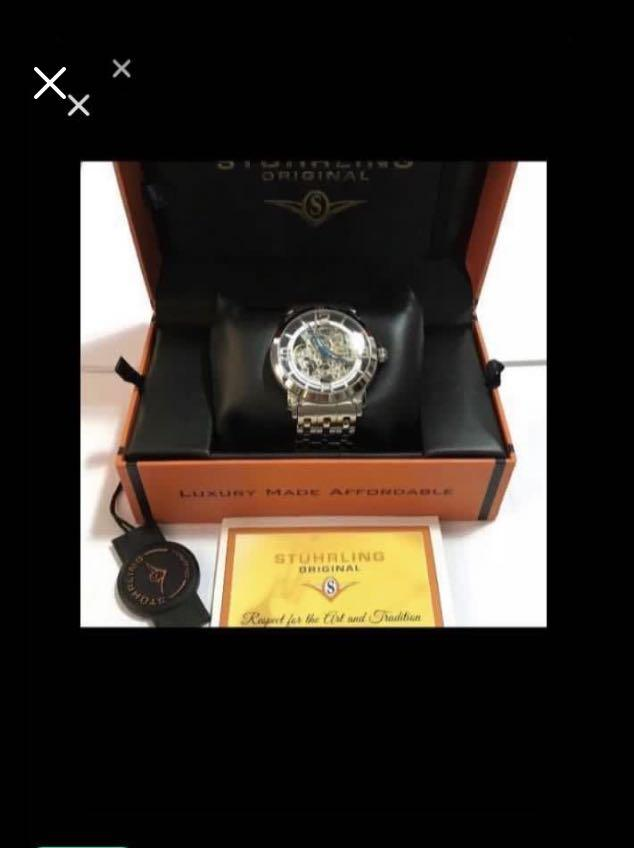 CLEARANCE SALES {Luxury Dress Watch - CITIZEN} NEW ARRIVAL Pre-loved Gorgeous LIMITED EDITION Authentic Original STUHRLING Brand LUXURY MADE AFFORDABLE Skeleton Stainless Steel Automatic Winding Wrist Watch