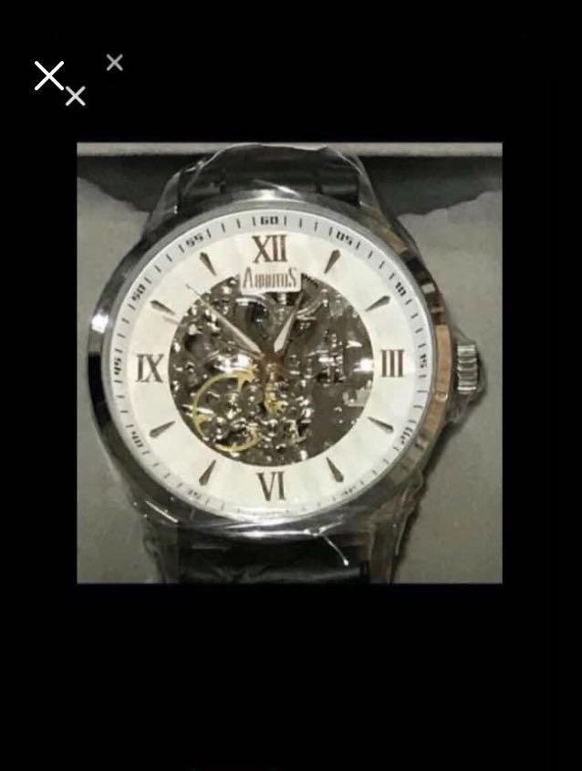 CLEARANCE SALES {Men's Fashion - Vintage Dress Watch} Authentic Automatic BN ARBUTUS Brand Model AR613TBWB Black Tie ENS Leather Strap SKELETON With Dial Unisex Watch C/W International Guaranteed Card & Original Box