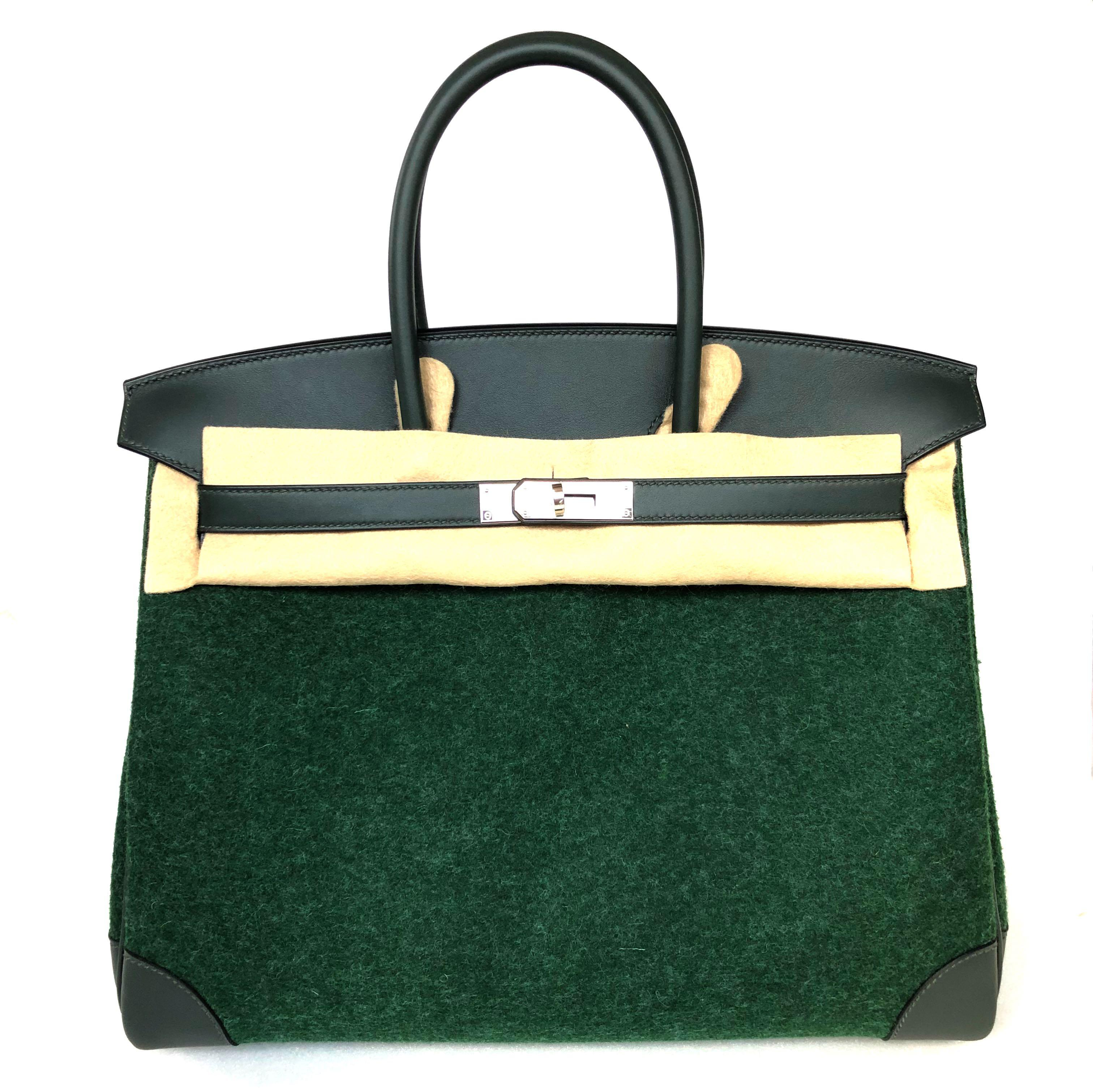 Hermes - Limited Edition Runway Vert Anglaise / Vert Cypress Birkin 35 in Feutre De Laine with PHW