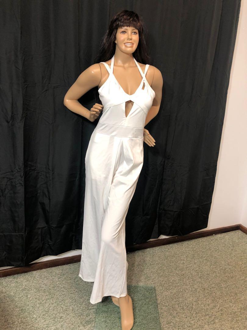 Ladies white long trouser jumpsuit size L (small fit)
