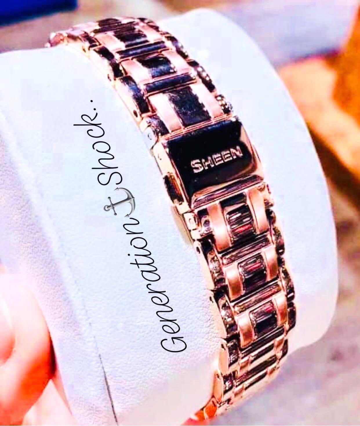 NEW🌟SHEEN GLAMOUR WATCH : 100% ORIGINAL AUTHENTIC CASIO SHEEN : by BABY-G SHOCK ( GSHOCK )  Company : Swarovski Crystal & Element : SHE-3048PG-7BUDR (BLUE CRYSTAL-ROSE GOLD)