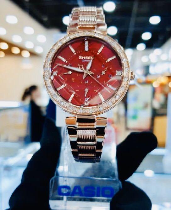 NEW🌟SHEEN LUXURY  GLAMOUR WATCH : 100% ORIGINAL AUTHENTIC CASIO SHEEN BABY-G SHOCK ( GSHOCK )  : Swarovski Crystal & Element : SHE-3068PG-4BUDF (RED-ROSE GOLD)