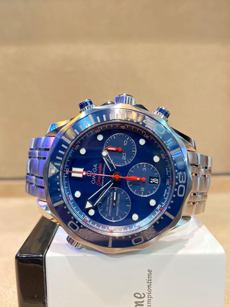 Pre Owned Omega Seamaster 300m 212.30.44.50.03.001 Blue Dial Automatic Steel Casing Bracelet