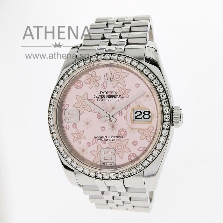 """ROLEX MENS OYSTER PERPETUAL DATEJUST """"V"""" SERIES """" PINK FLORAL MOTIF DIAL"""" WITH ORIGINAL ROLEX DIAMOND BEZEL, CHAPTER RING & CERT 116244 (LOCAL AD) JWWRL_1390"""