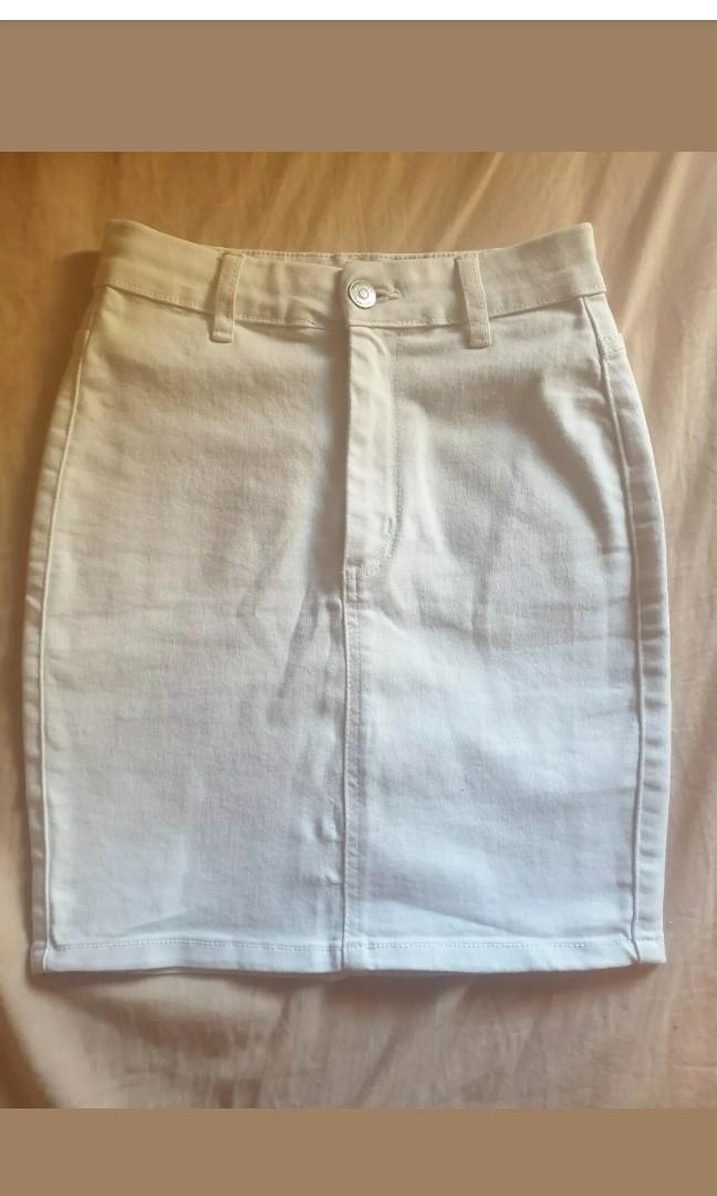 Supre White Denim Stretch High Waist Mini Skirt Size 6 New