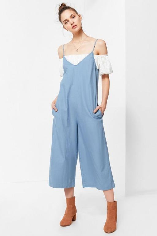 Urban Outfitters Shapeless Linen  blue V-Neck Jumpsui