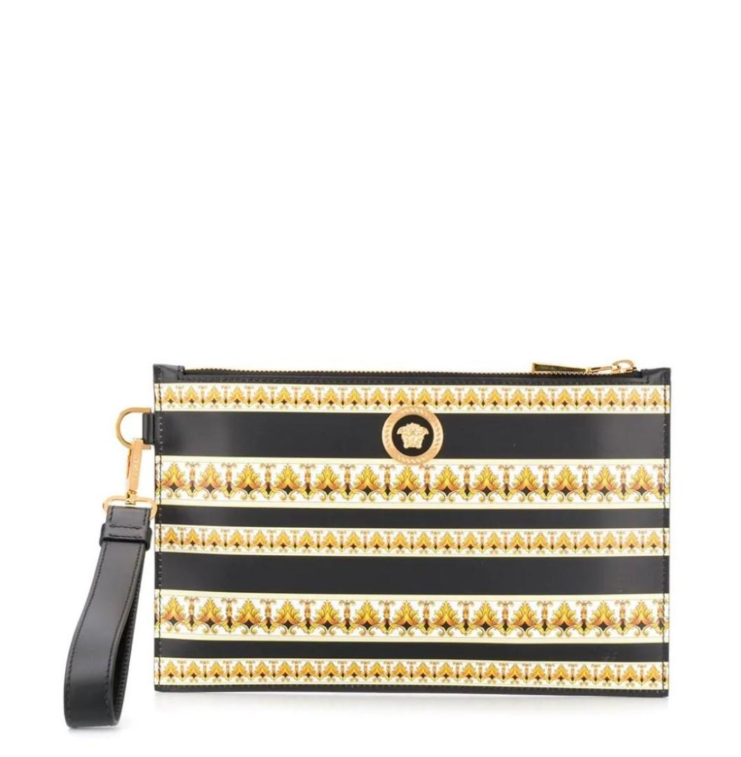 Authentic Versace Baroque Print Leather Clutch With Gold Medusa Head Logo, Branded Leather Clutches, versace Clutches, branded clutch