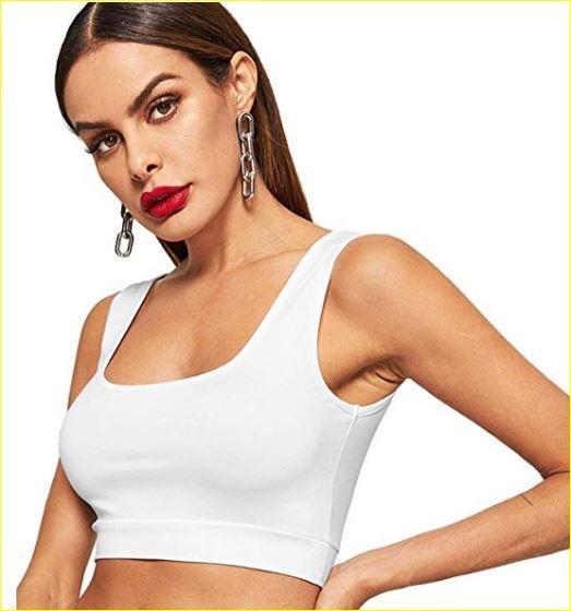 Women's Round Neck Solid Slim Fit Crop Tank Top (Size S)