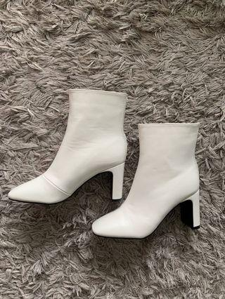 BooHoo white ankle boots