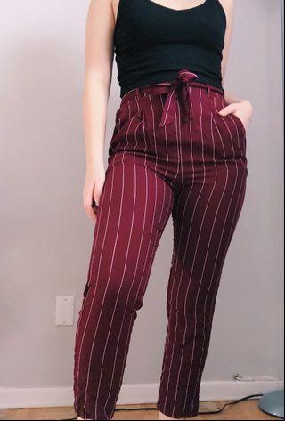 Burgundy striped pants