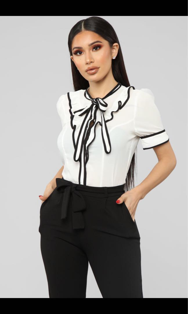 ' keep it professional' black and white button up shirt with tie detail