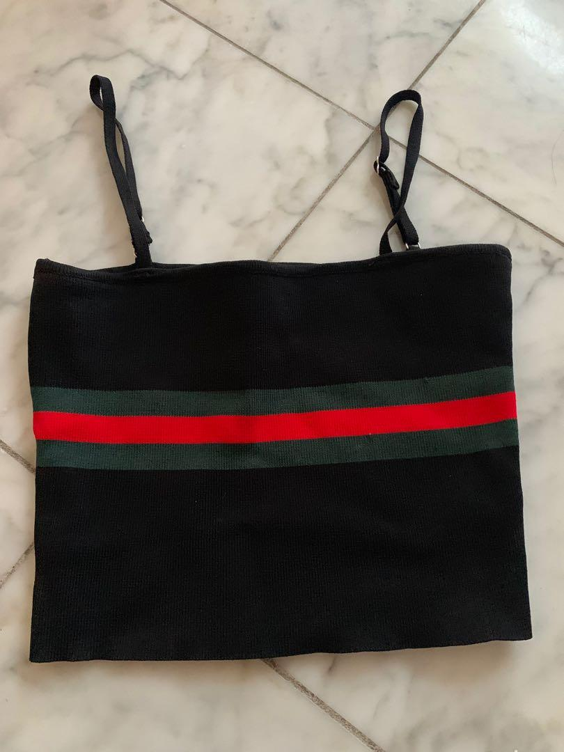 Gucci-like Black singlet with red and green stripe size 6