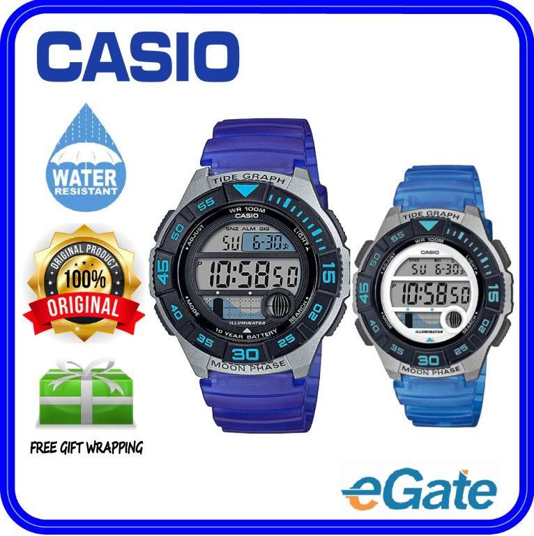 Casio WS-1100H-2AV & LWS-1100H-8AV Couple Digital YOUTH Sporty Design Tide Graph Blue Resin Band Original Watch