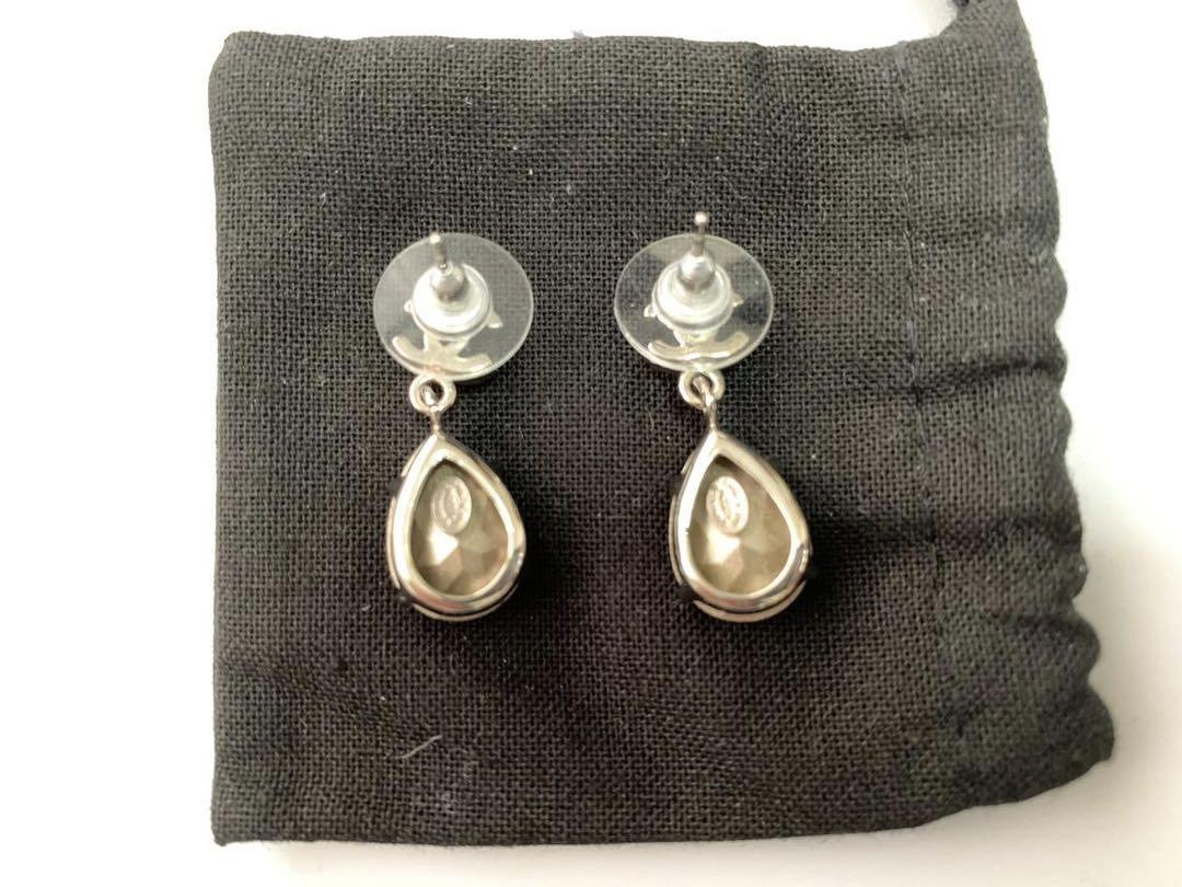 Chanel ❤️ Tear Drop Silver Crystal Dangle Earrings RARE GEM SEEN ON ANGELABABY 100% Authentic like New