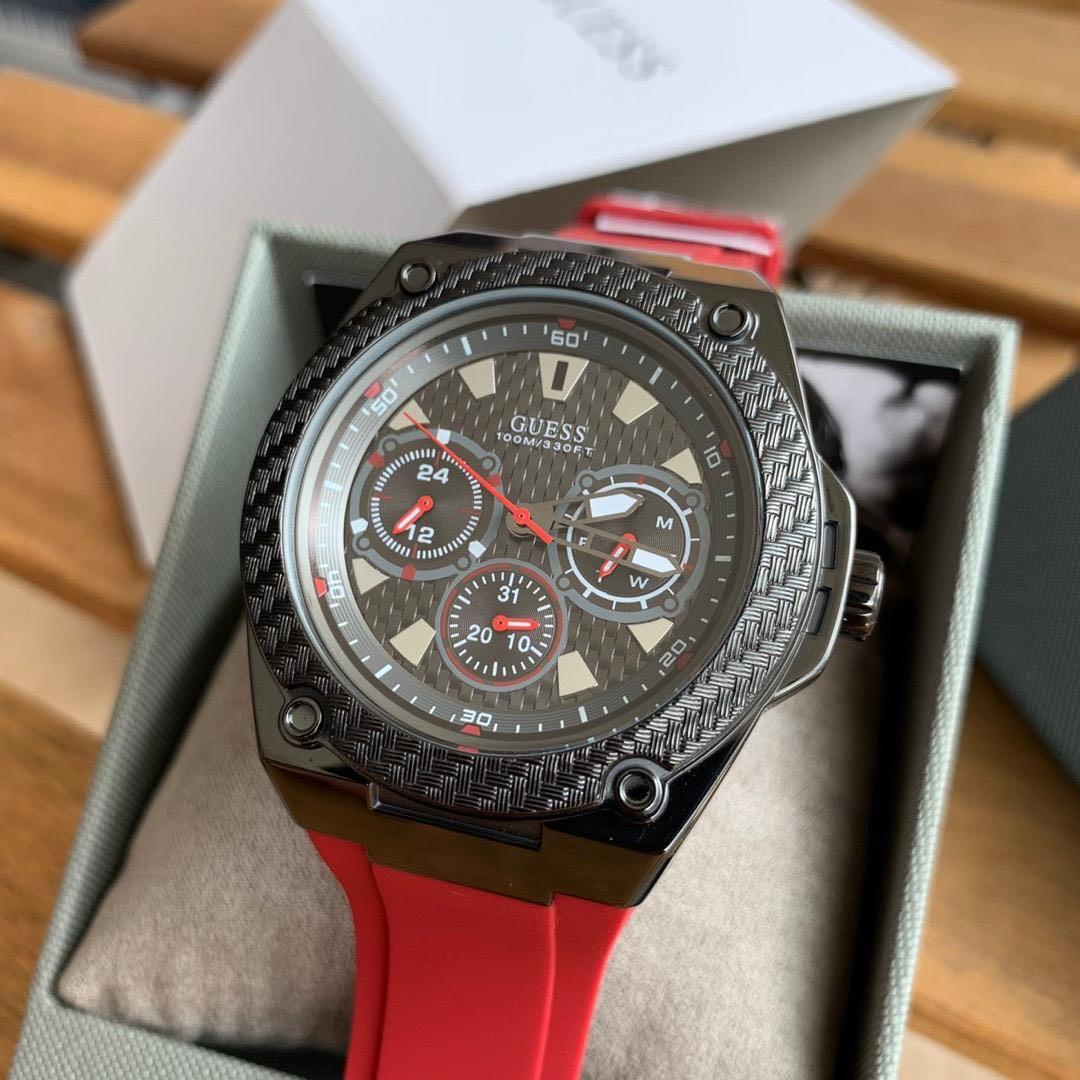 CNY SALE !! RM 5 OFF !! Guess Legacy Watch Black Red Silicone W1049G6