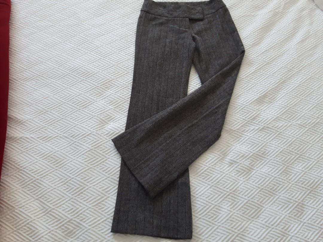 DYNAMITE Size 3 RETRO WIDE LEG TROUSERS GREY BROWN LOW RISE