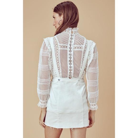 For Love & Lemons White Denim Monika Overalls Mini Skirt NWT (Sizes XS & S)