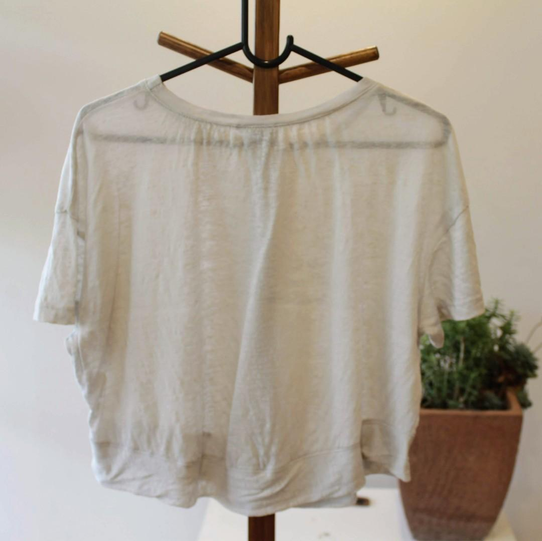 Kookai: Size 1 White Soft Cropped Top {Minor Damage}