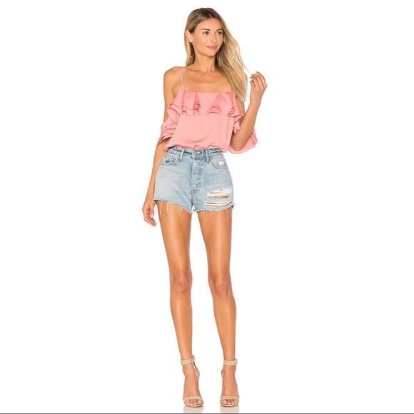 L'Academie Salmon Pink Off the Shoulder Bodysuit NWT (Size S & M)